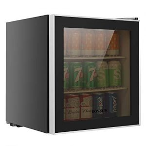 ROVSUN 60 Can Beverage Refrigerator, Mini Cooler with Removable Shelves, Temperature Adjustable Fridge for Soda, Beer, Wine & Cold Water, Liquid Drink, Summer Machine for Kitchen, Dorm, Office or Bar