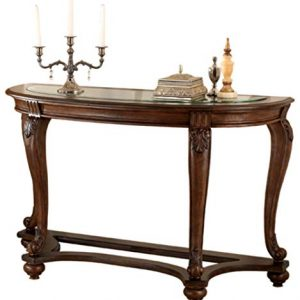 Signature Design by Ashley - Norcastle Traditional Glass Top Semi-Circle Sofa Table, Dark Brown