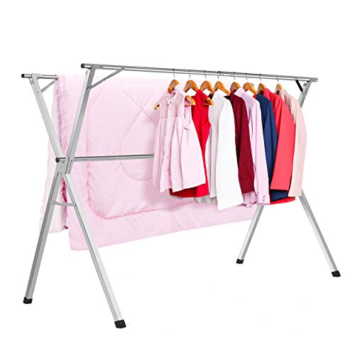 HYNAWIN Stainless Steel Laundry Drying Rack Heavy Duty Collapsible Folding Clothes Drying Rack