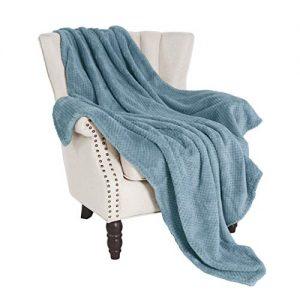 "Exclusivo Mezcla Waffle Flannel Fleece Velvet Plush Large Throw Blanket– 50"" x 70"" (Slate Blue)"