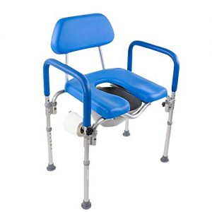 Dignity Ultra-Premium Padded Commode/Shower Chair. Voted #1 Most Comfortable with Padded arms/backrest. Adjustable Height. Includes Free Commode Pail and Lid(Blue)