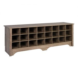Prepac 24 Pair Shoe Storage Cubby Bench, Drifted Gray