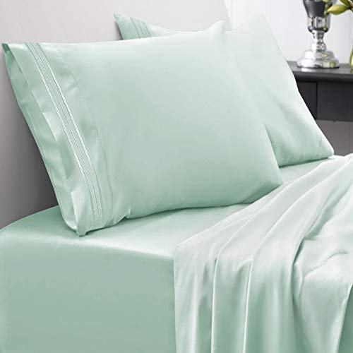 1800 Thread Count Sheet Set – Soft Egyptian Quality Brushed Microfiber Hypoallergenic Sheets – Luxury Bedding Set with Flat Sheet, Fitted Sheet, 2 Pillow Cases, Queen, Mint