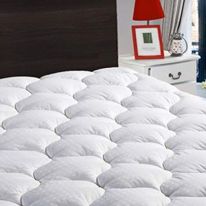 LEISURE TOWN Queen Mattress Pad Cover Cooling Mattress Topper Cotton Top Pillow Top with Snow Down Alternative Fill (8-21 Inch Fitted Deep Pocket)