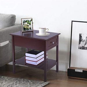 "Narrow/Slim End Tables with Drawers/Shelf Sofa/Chair Side Bedside Table/Cabinet Living Room Bedroom Nightstand Espresso 13.78""L x 21.65""W x 23.62""H"