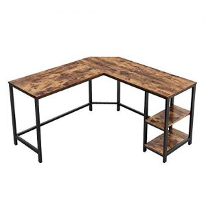 VASAGLE Industrial L-Shaped Computer Desk, Corner Desk, Office Study Workstation with Shelves for Home Office, Space-Saving, Easy to Assemble, Rustic Brown ULWD72X