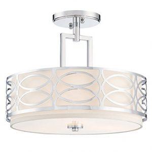 "Kira Home Sienna 15"" 3-Light Semi Flush Mount Ceiling Light, White Fabric Shade + Glass Diffuser, Chrome Finish"