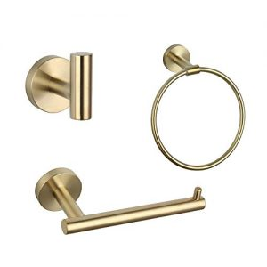GERZ Bathroom Accessories Set 3 Piece Brushed Pvd Zirconium Gold Stainless Steel Bath Hardware Kit Wall Mount Towel Ring Toilet Paper Holder Robe Hook