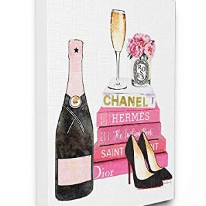 Stupell Industries Glam Pink Fashion Book Champagne Hells and Flowers Oversized Stretched Canvas Wall Art, Proudly Made in USA