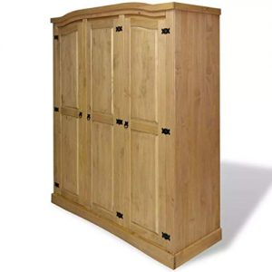 "vidaXL Wardrobe,3 Doors,Closet Wardrobe in Closet Armoire Wardrobe Closet Bedroom Armoire Room Closet with Doors Storage Organizer ,59.7"" x 20.5"" x 66.9"" (L x W x H) Mexican Pine Corona"