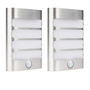 2-Pack Leadleds Luxury Aluminum Stick Anywhere Bright Motion Sensor LED Wall Sconce Night Light Battery Operated, Auto On/Off for Hallway, Closet, Pathway, Staircase, Garden