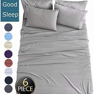 Shilucheng King Size 6-Piece Bed Sheets Set Microfiber 1800 Thread Count Percale 16 Inch Deep Pockets Super Soft and Comforterble Wrinkle Fade and Hypoallergenic(King,Grey)