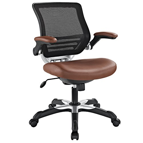 Modway Edge Mesh Back and White Vinyl Seat Office Chair With Flip-Up Arms - Computer Desks in Tan
