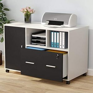 Tribesigns Large File Cabinet with Lock and Drawer, Modern Mobile Lateral Filing Cabinet Printer Stand Legal/Letter / A4 Size with Wheels and Storage Shelves for Home Office (White)