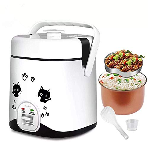 IronRen 1.2L Mini Rice Cooker, Electric Lunch Box, Travel Rice Cooker Small, Removable Non-stick Pot, Keep Warm Function, Suitable For 1-2 People - For Cooking Soup, Rice, Stews, Grains & Oatmeal (White)