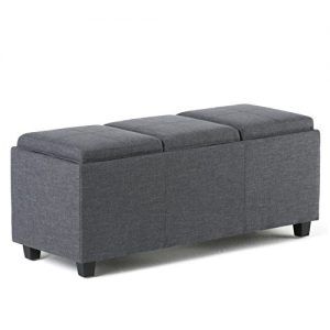 Simpli Home Avalon 42 inch Wide Rectangle Storage Ottoman in Upholstered Slate Grey Linen Look Fabric, Coffee Table for the Living Room, Bedroom, Contemporary