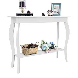 ChooChoo Entryway Console Table, Behind Sofa Tables Narrow, Hallway Table for Entryway Easy Assembly - White