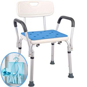Medokare Shower Chair with Rails - Shower Seat with Arms for Seniors with Tote Bag and Handles, Tall Shower Chair for Elderly, Handicap Tub Shower Seats for Adults (White Chair with Rail)