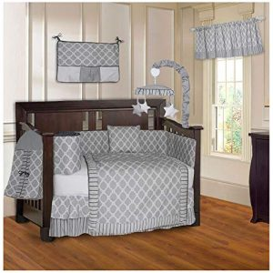 BabyFad Clover Gray 10 Piece Baby Crib Bedding Set