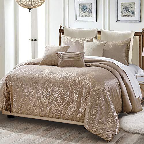 Shatex Bedding Comforter Set Bed in A Bag - 8 Piece Luxury Metallic Printed Velvet Bedding Sets - Oversized Bedroom Comforters, King/Cal King Size, Pandita