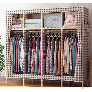 Protable Not-Woven Cloth Wardrobe, Assembled Storage Armoire Closet Organizer Shelf Garment Rack for Bedroom-c L170xw45xh170cm(67x18x67inch)