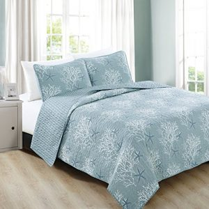 Home Fashion Designs 3-Piece Coastal Beach Theme Quilt Set with Shams. Soft All-Season Luxury Microfiber Reversible Bedspread and Coverlet. Fenwick Collection Brand. (Full/Queen, Ether Blue)