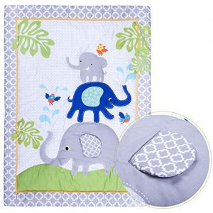 Premium Nursery Bedding: 3 Piece Baby Boy/Girl Elephant Crib Set (Greyblue)