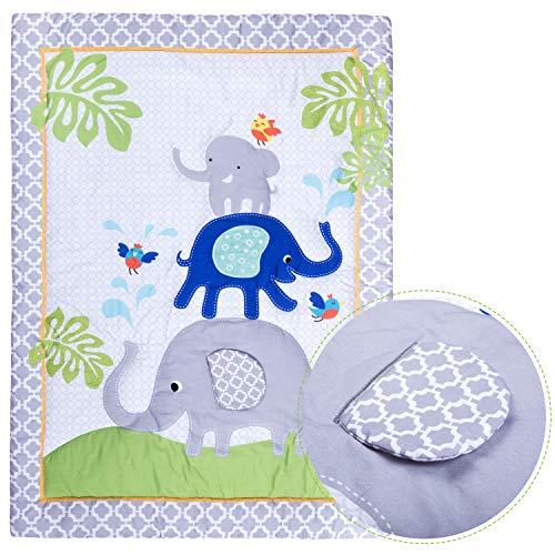 Premium Nursery Bedding: 3 Piece Baby Boy/Girl Elephant Crib Set (Greyblue)