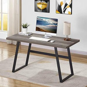 BON AUGURE Rustic Wood Computer Desk, Industrial PC Writing Desk, Vintage Study Table for Home Office Workstation (55 inch, Grey Oak)