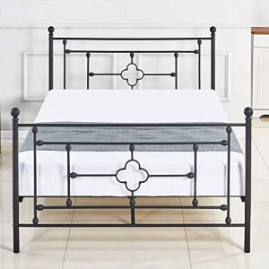 ZoonaeHaii Metal Bed Frame Platform with Steel Headboard and Footboard Mattress Foundation Bedroom Furniture Box Spring Replacement Victorian Style Black (Full Size)
