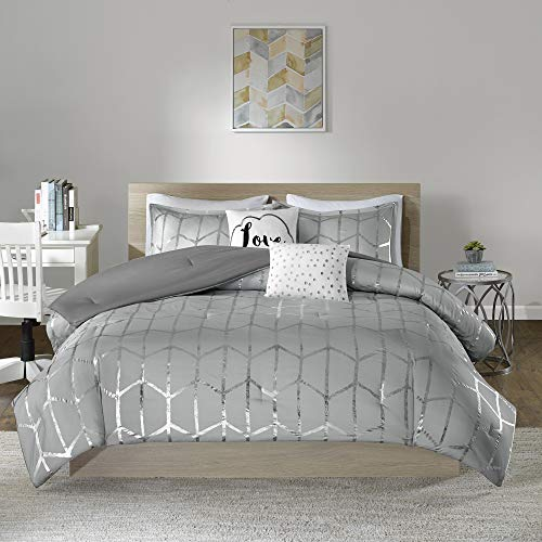 Intelligent Design Raina Comforter Set King/Cal King Size - Grey Silver, Geometric – 5 Piece Bed Sets – Ultra Soft Microfiber Teen Bedding for Girls Bedroom