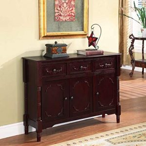 King's Brand Wood Console Sideboard Table with Drawers and Storage, Cherry Finish