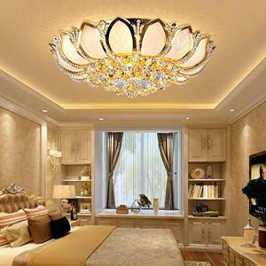 KALRI Luxury Crystal Indoor Chandeliers, Modern Gold Flush Mount Ceiling Light Pendant Lamp Fixture for Living Room, Dining Room and Bedroom, Diameter 23.6''