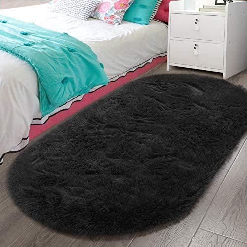 LOCHAS Luxury Velvet Fluffy Carpet Soft Children Rugs Room Mat Modern Shaggy Area Rug for Bedroom Bedside Home Decor 2.6' x 5.3', Black