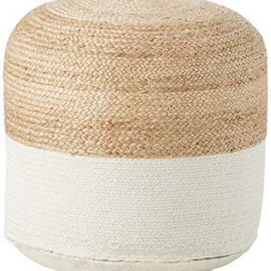 Signature Design by Ashley - Sweed Valley Pouf - Comfortable Pouf & Ottoman - Casual - Natural/White