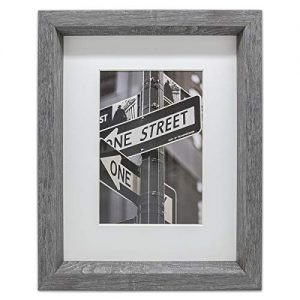"""The Display Guys Luxury Made Affordable 11""""x14"""" Tempered Glass Photo Frame in Grey Walnut Wood Finish Beveled Profile Elegant and Contemporary."""