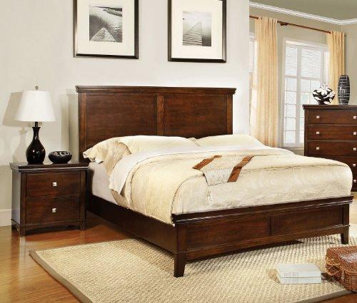 Furniture of America Pasha 3-Piece Queen Platform Bedroom Set with Two-Nightstands, Brown Cherry Finish