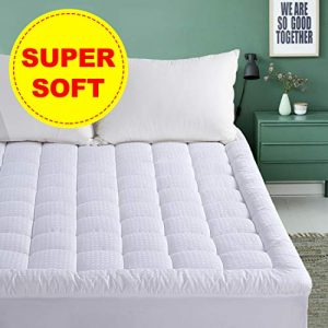 "Queen Mattress Pad - Pillow Top Fitted Mattress Pad Cover (Deep Pocket 8""-21""), 300TC Down Alternative Quilted Mattress Topper"