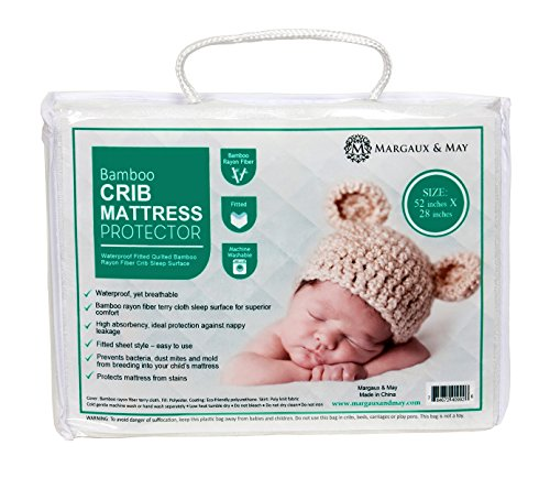 Ultra Soft Crib Mattress Protector Pad by Margaux & May - Waterproof - Noiseless - Dryer Friendly - Deluxe Bamboo Rayon - Fitted, Quilted - Stain Protection Baby, Infant & Toddler Cover