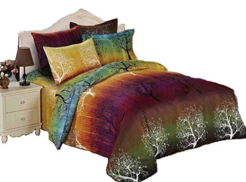 Swanson Beddings Rainbow Tree 3pc Duvet Bedding Set: Duvet Cover and Two Pillow Shams (Queen)