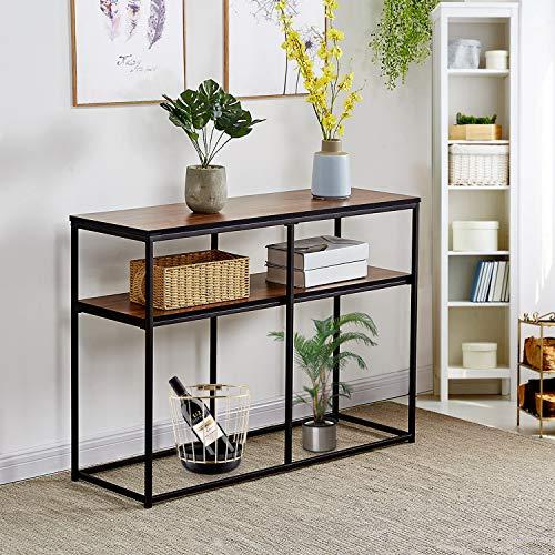 VECELO Multipurpose Sofa Side Bookshelf Rectangular Entryway/Living Room Tables with Storage Shelf, Brown