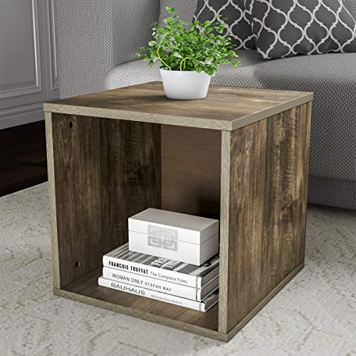 Lavish Home End Stackable Contemporary Minimalist Modular Cube Accent Table or Shadowbox for Bedroom, Living Room or Office (Gray),