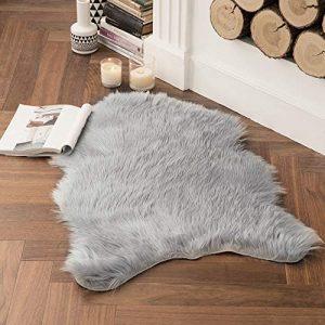 MIULEE Luxury Super Soft Fluffy Area Rug Faux Fur Sheepskin Rug Decorative Plush Shaggy Carpet for Bedside Sofa Floor Nursery 2 x 3 Feet, Grey