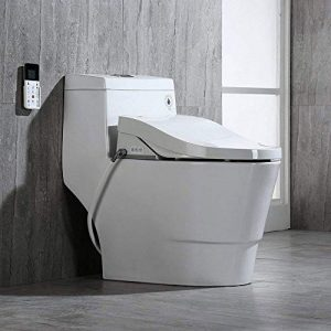 Woodbridge White Luxury, Elongated One Piece Advanced Bidet, Smart Toilet Seat with Temperature Controlled Wash Functions and Air Dryer T-0008