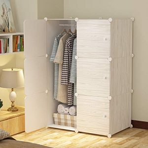 Wood Pattern Portable Wardrobe for Hanging Clothes, Combination Armoire, Modular Cabinet for Space Saving, Ideal Storage Organizer Cube