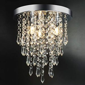 "3 Lights Mini Crystal Flushmount Chandelier Fixture, Hong-in Crystal Ceiling Lamp, H10.4"" X W9.84"", Elegant Modern Flush Mount Ceiling Light for Bedroom, Hallway, Bar, Living Room, Dining Room, Chrome"