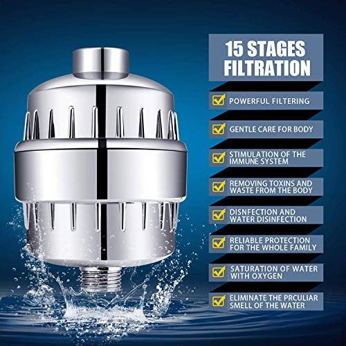 Shower Head and 15 Stage Shower Filter Combo, FEELSO High Pressure Model: FEELSO