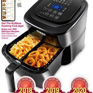 NUWAVE BRIO 6-Quart Digital Air Fryer with one-touch digital controls, 6 easy presets, precise temperature control, recipe book, basket divider, wattage control, PREHEAT & REHEAT Function