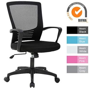 Office Chair, Modern Mid Back Mesh Computer Lumbar Support Swivel Desk Task Chair, Ergonomic Executive Chair with Thick Seat Cushion, Wheels and Height Adjustable for Holiday & Christmas Gift - Black