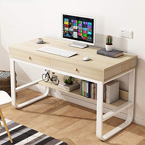 Ecurson Computer Desk,Modern Simple Metal Frame Table Creative Student Laptop Writing Table with Double Drawers,for Bedroom,Living Room,Office 120x50x76cm, Maple Wood/Black Walnut (Maple Wood)